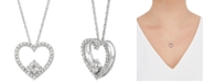 Macy's Diamond Heart Pendant Necklace (1/4 ct. t.w.) in 10k White Gold