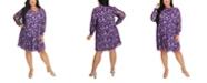 Maree Pour Toi Women's Plus Size Foil Print Trapeze Dress