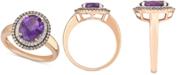 Macy's Amethyst (2-1/3 ct. t.w.) & Diamond (1/3 ct. t.w.) Ring in 14k Rose Gold