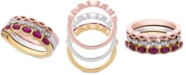 Macy's 3-Pc. Set Lab-Created Ruby (9/10 ct. t.w.) & White Sapphire Accent Stack Rings in Sterling Silver, Gold-Plate & Rose Gold-Plate