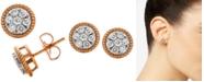 Macy's Diamond Rope-Framed Cluster Stud Earrings (1/2 ct. t.w.) in 14k Rose & White Gold