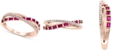 EFFY Collection EFFY® Certified Ruby (1/2 ct. t.w.) & Diamond (1/10 ct. t.w.) Crisscross Ring in 14k Rose Gold