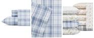 Laura Ashley Mulholland Plaid Lt-Pastel Blue Queen Flannel Sheet Set