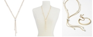 """Alfani Gold-Tone Imitation Pearl Lariat Necklace, 24"""" + 2"""" extender, Created for Macy's"""