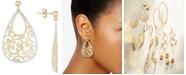Italian Gold Filigree Drop Earrings in 14k Gold & 14k White Gold
