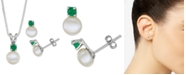 "Macy's Cultured Freshwater Pearl (6-7mm) & Emerald (1/3 ct. t.w.) 18"" Pendant Necklace & Stud Earrings Set in Sterling Silver"