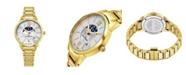 Stuhrling Alexander Watch A204B-05, Ladies Quartz Moonphase Date Watch with Yellow Gold Tone Stainless Steel Case on Yellow Gold Tone Stainless Steel Bracelet