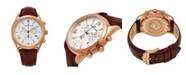 Stuhrling Alexander Watch A021-04, Stainless Steel Rose Gold Tone Case on Brown Embossed Genuine Leather Strap