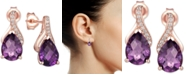 Macy's Amethyst (2-1/10 ct. t.w.) & Diamond Accent Drop Earrings in 14k White Gold (Also Available in Blue Topaz, Mystic Topaz, Rhodolite Garnet, and Citrine)