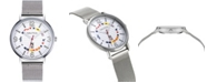 Nautica N83 Men's NAPWGS905 Wave Garden Silver/White Stainless Steel Mesh Band Watch