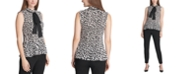 DKNY Pleated Animal-Print Tie-Neck Top