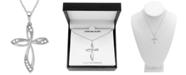 """Macy's Diamond (1/10 ct. t.w.) Cross 18"""" Pendant Necklace in Sterling Silver"""