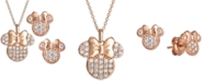 Disney Children's 2-Pc. Set Cubic Zirconia Pavé Minnie Mouse Pendant Necklace & Matching Stud Earrings in 18k Rose Gold-Plated Sterling Silver