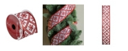"""Northlight White and Red Snowflake Wired Christmas Craft Ribbon 2.5"""" x 10 Yards"""
