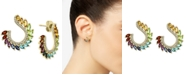 EFFY Collection EFFY® Multi-Gemstone (2-1/2 ct. t.w.) & Diamond (1/4 ct. t.w.) Front & Back Hoop Earrings in 14k Gold