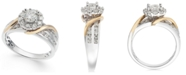Macy's Diamond Halo Two-Tone Engagement Ring (1-1/4 ct. t.w.) in 14k White Gold & 14k Gold