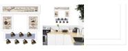 "Trendy Decor 4U Kitchen Collection IV 4-Piece Vignette with 7-Peg Mug Rack by Millwork Engineering, White Frame, 32"" x 10"""