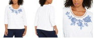 Alfred Dunner Plus Size Pearls Of Wisdom Embellished Top