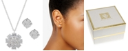 "Anne Klein Silver-Tone Crystal Flower Pendant Necklace & Stud Earrings Set, 16"" + 3"" extender"