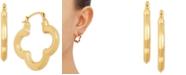 Macy's Clover Small Hoop Earrings in 10k Gold