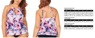 Raisins Curve Plus Size Juniors' Torquay Tie Dye Printed Rosalie High Neck Underwire Tankini Top