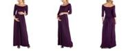 24seven Comfort Apparel Off Shoulder Pleated Waist Maternity Maxi Dress