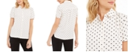 Anne Klein Dot-Print Button-Up Short-Sleeve Blouse