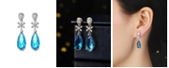 A&M Silver-Tone Blue Topaz Accent Drop Earrings