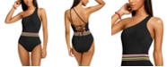 Bar III Cabo Wabo Asymmetrical Banded One-Piece Swimsuit, Created for Macy's