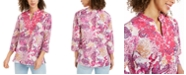 Charter Club Linen-blend Embroidered-Neck Printed Tunic, Created for Macy's