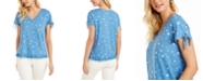 Style & Co Printed Ruffled-Hem Tie-Sleeve Top, Created for Macy's