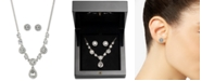 "Givenchy Silver-Tone Crystal Button Earrings & Frontal Necklace, 16"" + 3"" extender"