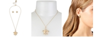 Betsey Johnson Gold-Tone Pavé & Imitation Pearl Turtle Pendant Necklace & Starfish Stud Earrings Set