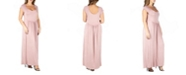 24seven Comfort Apparel Women's Plus Size Cap Sleeve Empire Waist Maxi Dress