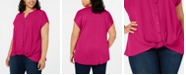 INC International Concepts INC Plus Size Twist-Front Top, Created for Macy's