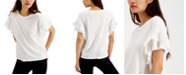 INC International Concepts I.N.C. Cotton Stud-Detail Ruffle-Sleeve Top, Created for Macy's