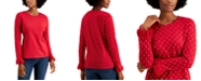 Charter Club Ruffle Sleeve Bi-Color Heart Top, Created for Macy's
