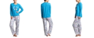 Muk Luks Ribbed Stretch Fleece Penguins Pajama Set