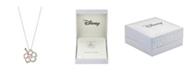 Disney Two-Tone Lilo and Stitch Cubic Zirconia Pendant Necklace in Fine Silver Plate