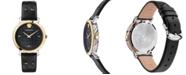 Versace Women's Swiss Medusa Chain Black Leather Strap Watch 37mm