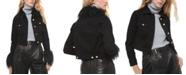 Michael Kors Faux-Fur-Trimmed Button-Front Denim Jacket