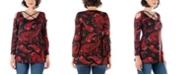 24seven Comfort Apparel Women's Paisley Long Sleeve Cold Shoulder Top