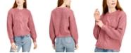 Belle Du Jour Juniors' Cable-Knit Balloon-Sleeve Sweater