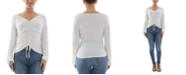 BCX Juniors' Ribbed-Knit Ruched Top