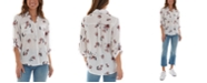 BCX Juniors' Floral-Print Collared Shirt