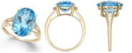 Macy's Blue Topaz (6-1/2 ct. t.w.) and Diamond Accent Ring in 14k Gold