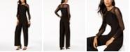 R & M Richards Petite Illusion Ruffle Jumpsuit