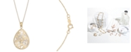 """Macy's Mother-of-Pearl Flower Filigree 18"""" Pendant Necklace in 14k Gold"""