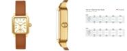 Tory Burch Women's Robinson Luggage Leather Roller Bar Strap Watch 27x29mm