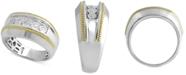 Macy's Men's Diamond Two-Tone Ring (1/5 ct. t.w.) in Sterling Silver & 14k Gold-Plate